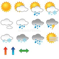 Illustration about Illustration of a set of weather symbols/icons. EPS file available. Illustration of snowflake, season, clouds - 12742219 Seasons Activities, Kids Learning Activities, Its Raining Its Pouring, Emoji, Weather Words, Go Fly A Kite, Teachers Aide, Teacher Assistant, Australia Map