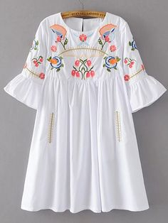 Embroidery dress - Shop Bell Sleeve Flower Embroidery Dress online SheIn offers Bell Sleeve Flower Embroidery Dress & more to fit your fashionable needs Kurta Designs, Blouse Designs, Designer Kurtis, Designer Dresses, Casual Dresses, Fashion Dresses, Girls Dresses, Embroidery Dress, Pakistani Dresses