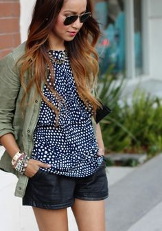 military jacket + blouse + leather shorts    http://whippedstyle.com/2012/08/17/wardrobestyle-militay-jackets/    http://www.sincerelyjules.com/2012/04/oh-tibi.html