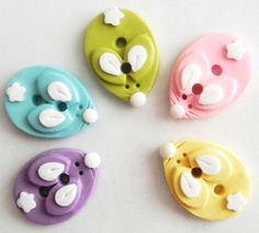 Button Pastel Bunny handmade polymer clay buttons ( 5 )