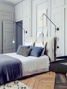 Linen Bedding, very casual slipcovered split headboard against formal panel…