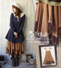 Юбки : Воздушная юбка-сарафан с оборками в стиле мори
