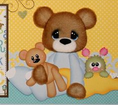 ELITE4U PMBY JULIE boy tear bear premade scrapbook pages 4 album paper piecing