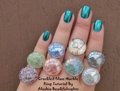 Crackle Glass Marble Ring - includes DIY to crack marbles in a pan, not the oven & Wire Wrapped Ring Base DIY #Glass #FoundObjects #Wire #Tutorial