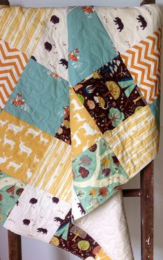Like the colours! Patchwork Baby Quilt, Organic, Gender Neutral, Woodland, Modern Quilt, Deer, Sly Fox, Camp Sur, Baby Blanket, Baby Bedding, Crib Bedding