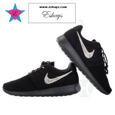 cheap for discount 55152 ca7b5 Custom Crystal Swoosh Black Roshe One Black Sole Glitter Sneakers these  black sole roshes with crystal swoosh are perfect for a good Christmas Gift.