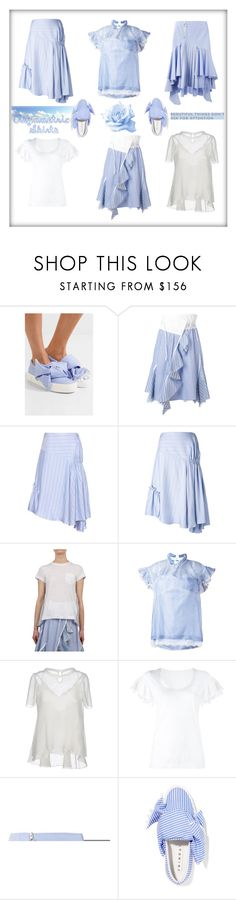 """""""60-Second Style: Asymmetric Skirts"""" by yours-styling-best-friend ❤ liked on Polyvore featuring Joshua's, Sacai, J.W. Anderson and Off-White"""