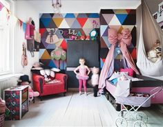 giant bow, ikea hanging chair as stuffed animal storage.oh and generally everything else This room belongs to the daughter of Isabelle McAllister (Dos Family) - photos via Hus & Hem Girl Bedroom Designs, Girls Bedroom, Bedrooms, Bedroom Decor, Childs Bedroom, Bedroom Bed, Dream Bedroom, Design Bedroom, Room Inspiration