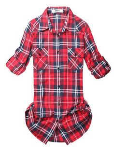 I love long, flannel shirts! Such a great style! Womens Plaid Flannel Shirt