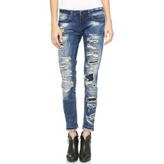 Blank Denim Skinny Distressed Jeans ($83) ❤ liked on Polyvore