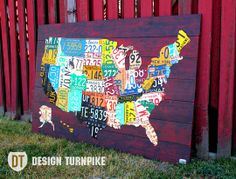Small Michigan Vintage Recycled License Plate Map On Blue Wood - Us liscense plate map