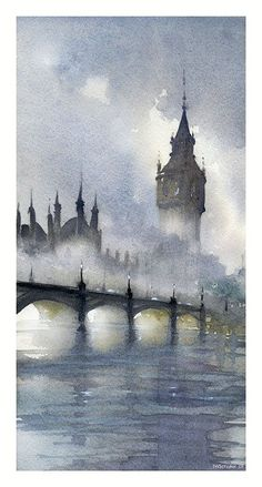 London Fog, watercolor, 16 x All works by Thomas Schaller. London Fog, watercolor, 16 x All works by Thomas Schaller. Watercolor Architecture, Water Architecture, Art Watercolor, Simple Watercolor, Watercolor Landscape Paintings, Butterfly Watercolor, Beginner Painting, Watercolor Techniques, Fine Art