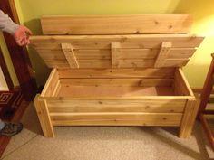 Outdoor cedar bench (opened)
