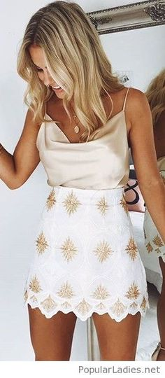 Nude tops and a printed skirt