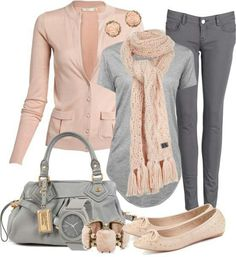 Love the bag and flats. Rosey pink, soft gray top and dark gray pants...so pretty! good for 50-60 degree weather