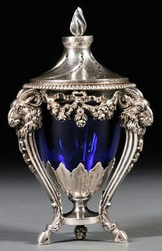 Silver, Neoclassical Style, Covered, Cobalt Glass Liner, 5 inch. Netherlands, circa 1894.