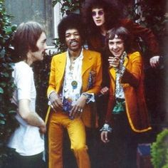 The Jimi Hendrix Experience hanging with Steve Marriott of Humble Pie and Small Faces
