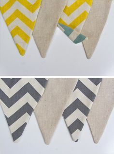 """ON SALE  - Vintage Chevron Flag Banner/Bunting - Double Sided and Reversible - Village Blue/Aqua, Gray & yellow - About 56"""" or longer"""