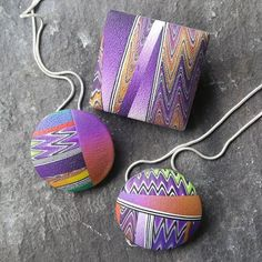 Colour to celebrate the sunshine!! Polymer clay pendants and brooch (which can be converted to wear as a pendant!)