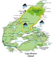 Map of famous Cabot Trail driving tour of Cape Breton Island, Nova Scotia. Part of the Cabot Trail Cabot Trail Map, Trail Maps, East Coast Travel, East Coast Road Trip, Cap Breton, East Coast Canada, Nova Scotia Travel, New Brunswick, Canada Travel
