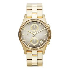 Montre pour femme : Marc By Marc Jacobs Henry Golden Crystal Set Bezel Ladies Watch MBM3298 From Berrys Jewellers