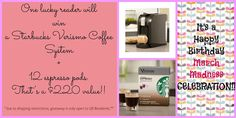 Win a Verismo Coffee System Plus 12 espresso Pods!  http://kmcilrath.blogspot.com/2013/03/march-madness-birthday-celebration-with.html#