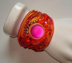 Bead embroidery bracelet with shibori silk Lunasoft by Beabead