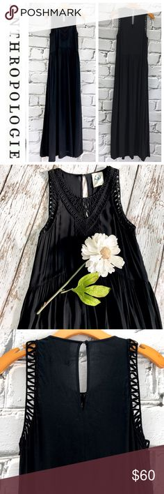 "SALEAnthropologie Black Maxi Dress Gorgeous  Anthropologie Black Maxi Dress with Pockets 59"" from the top of the shoulder to the bottom 19"" from armpit to armpit 100% Rayon. Super Soft and Beautiful Anthropologie Dresses Maxi"