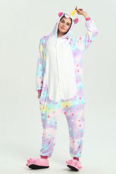 e6a4d95827 Adults  Kigurumi Pajamas Unicorn   Flying Horse Onesie Pajamas Flannel  Fabric Rainbow Cosplay For Animal Sleepwear Cartoon Halloween Festival    Holiday   ...