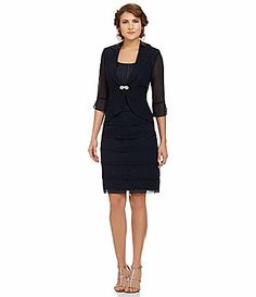 Le Bos Tiered Jacket Dress #Dillards  I like this one... and it looks good without the jacket too