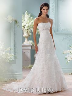 Style 13211, Anita, is a vintage lace wedding dress with Empire waistband designed for the Fall 2015 Bridal Collection by David Tutera for Mon Cheri.