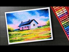 How to draw Scenery - Village house - Oil pastel painting Oil Pastel Drawings Easy, Oil Pastel Paintings, Cool Art Drawings, Learn Watercolor Painting, Simple Oil Painting, Elementary Drawing, Drawing Scenery, Peacock Wall Art, Soft Pastel Art