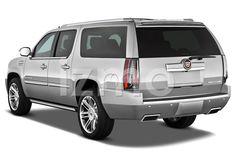 Rear view of silver 2014 Cadillac Escalade ESV Premium SUV