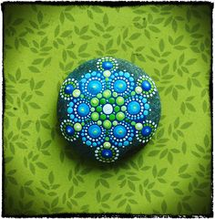 Jewel Drop Mandala Painted Stone Summer Swimming by ElspethMcLean