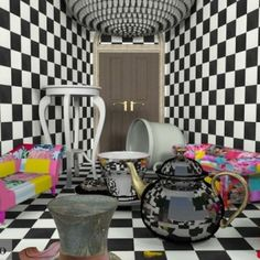 I want the scene where Alice gets small and floats away in her tears to look like. Obviously before it all gets destroyed. It shows how funky wonderland is and shows what she's going to go through. Her whole journey is going to be just like this room, it has some good and bad things in it.
