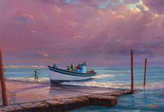 Painting of Arniston Slipway Western Cape Landscape Art, Landscape Paintings, South African Artists, Seascape Paintings, Rowing, Abandoned, Scenery, Mountains, Beach