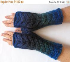Fingerless Gloves Dark Blue Green Black Arm Warmers Knit Soft (36.83 USD) by Initasworks