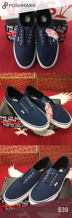 Vans Authentic Blue Marshmallow The Authentic, Vans original and now iconic style, is a simple low top, lace-up with durable canvas upper, metal eyelets, Vans flag label and Vans original Waffle Outsole. Vans Shoes Sneakers