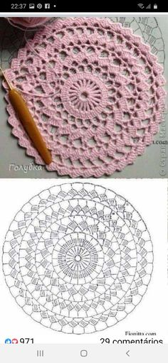 Free Crochet Doily Patterns, Crochet Placemats, Crochet Circles, Crochet Diagram, Crochet Chart, Crochet Squares, Crochet Doilies, Crochet Stitches, Doily Rug