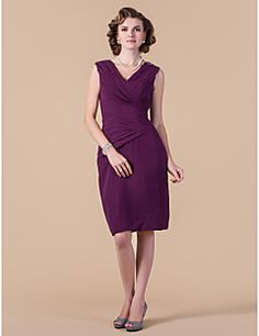 Sheath/Column V-neck Knee-length Chiffon Mother of the Bride... – CAD $ 125.09