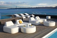 The minimalist design gives your imagination free rein: possibilities range from an intimate sofa corner to an accommodating lounge island. Street Furniture, Garden Furniture, Outdoor Furniture Sets, Furniture Sale, Outdoor Spaces, Outdoor Living, Outdoor Decor, Outdoor Sofas, Outdoor Stuff