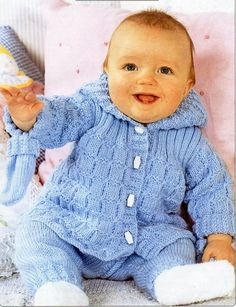 B8503 baby DK hooded jacket trousers mitts knitting pattern pdf baby pram set coat leggings 14-20 DK light worsted 8ply pdf instant download PLEASE NOTE: ALL PATTERNS ARE VINTAGE & IN ENGLISH ONLY Please refer to the pictures above for information from pattern on sizes, materials used, needle Baby Knitting Patterns, Baby Patterns, Free Knitting, Crochet Patterns, Knitting Needles, Knitting Yarn, Pram Sets, Baby Prams, Baby Cardigan