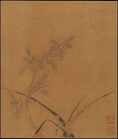 南宋 馬麟 蘭花圖 冊頁 絹本<br/>Orchids