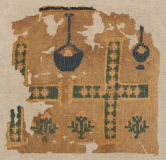 Fragment of a Large Hanging, 500s  Egypt, Byzantine period, 6th century  brocaded tabby; linen and wool, Overall - h:28.00 w:28.60 cm (h:11 w:11 1/4 inches). Dudley P. Allen Fund 1919.19