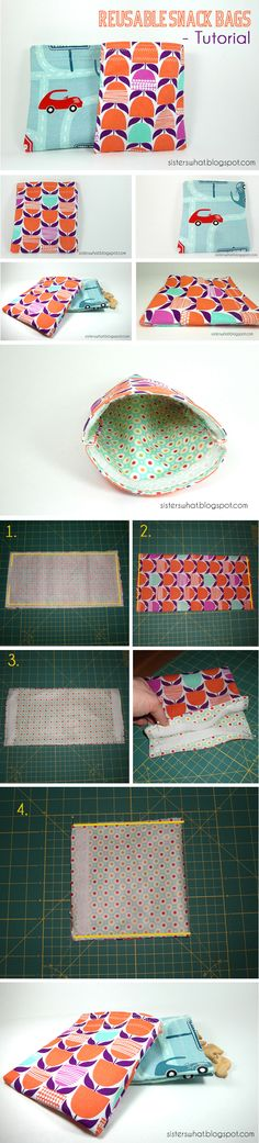 DIY snack bag - use chicken feed bags? Sewing Clothes, Diy Clothes, Sewing Crafts, Sewing Projects, Sewing Ideas, Craft Projects, Craft Ideas, Boite A Lunch, Diy Snacks