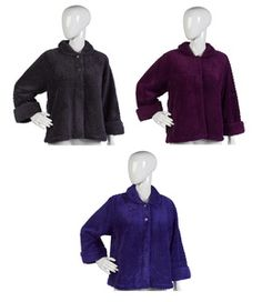 Ladies Slenderella Textured Soft Fleece Bed Jacket S-XL (Various Colours)