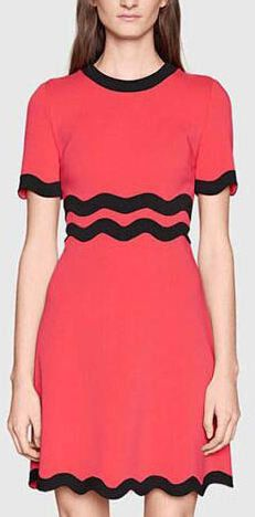 Color-Contrast Squiggly Line Sheath Dress