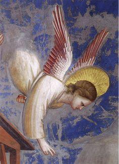 Giotto di Bondone Birth of Jesus (detail of angel calling the shepherds), 1304-06. Scrovegni Chapel, Padua