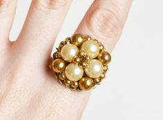 60s OOAK Pearl Cluster Cocktail Ring / 1960s Vintage Gold Bead Earring Ring