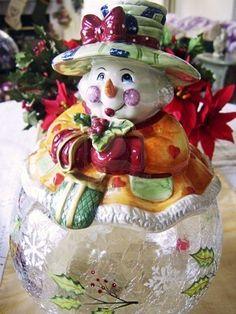 Snowman Glass Cookie jar